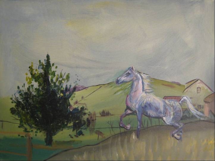 painting of a horse on a farm