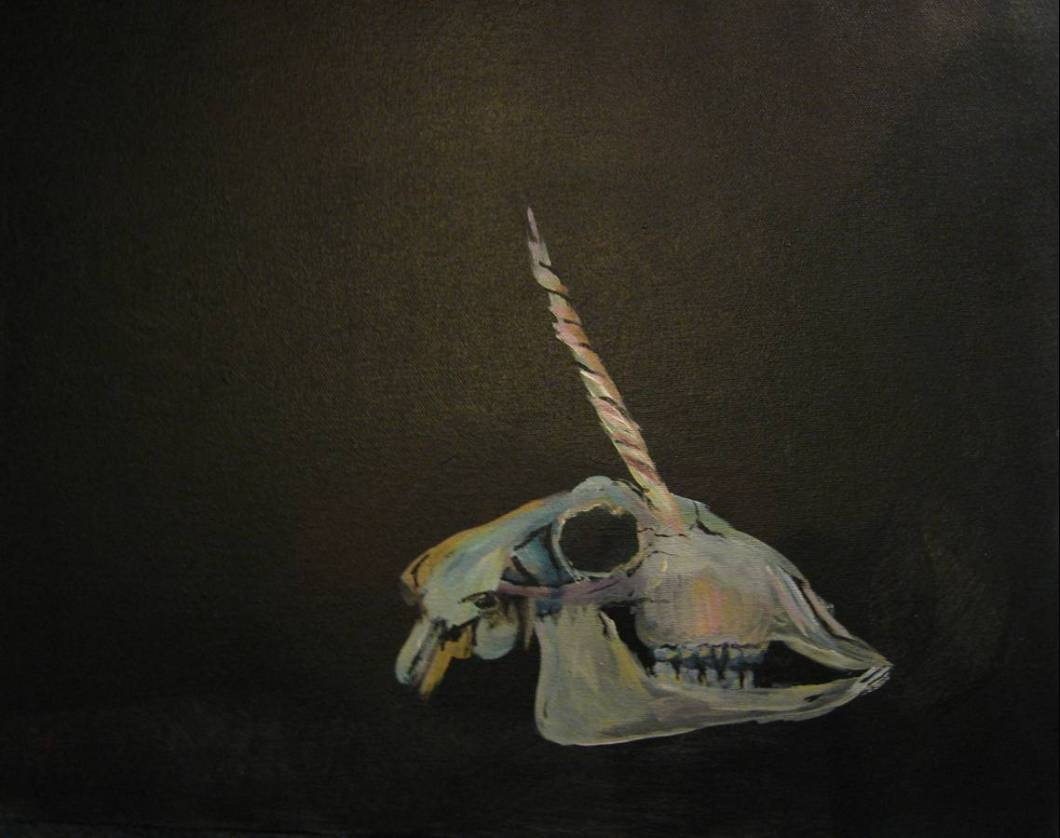 painting of a unicorn skull