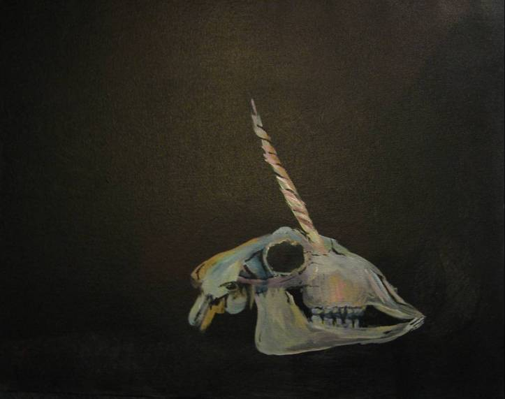 painting of a unicorn skull