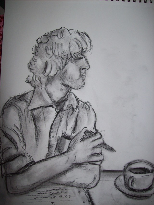 charcoal sketch of Ryan Packer