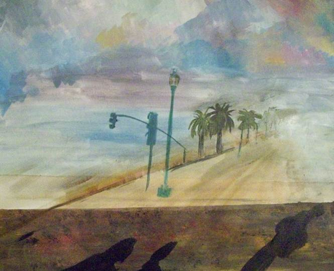 Painting of Embarcadero street shadows