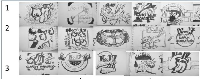 series of painted thumbnails of logo sketches for number 17 garlic habanero sauce