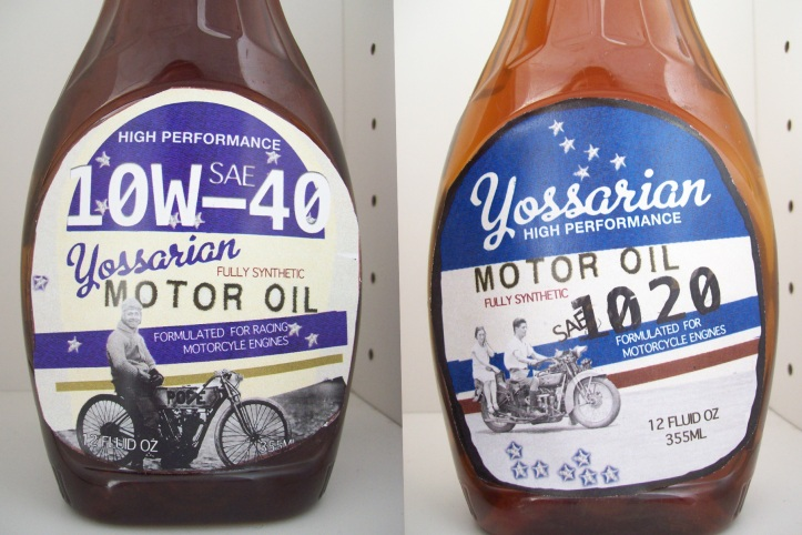 comparison of old Yossarian's Motor Oil Design and the new one