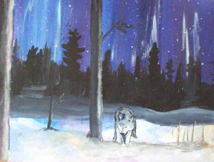 painting of a wolf in snow night sky