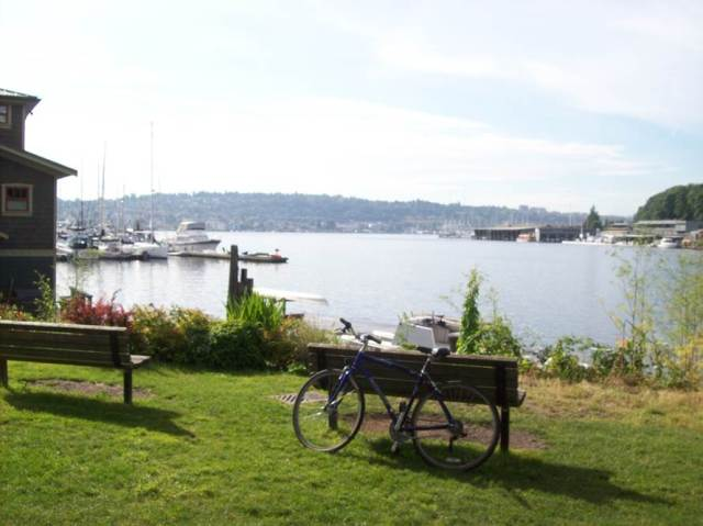 waterfront view seattle boats bike leaning on a bench