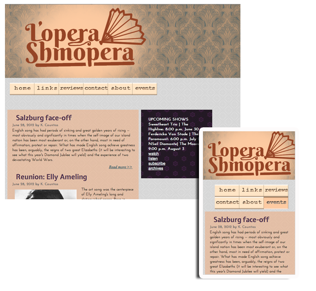 screen shot of lopera shmopera website phone view and desk top