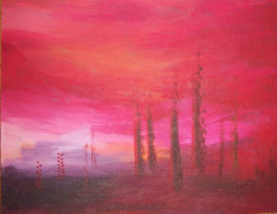 Red sky and dotted trees and red landscape
