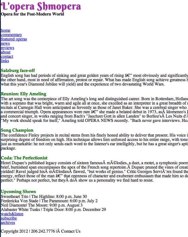 screen shot of basic html website called Lopera Shmopera