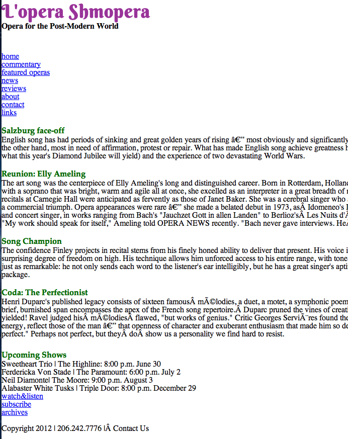 screen shot of basic html website called Lopera Shmopera