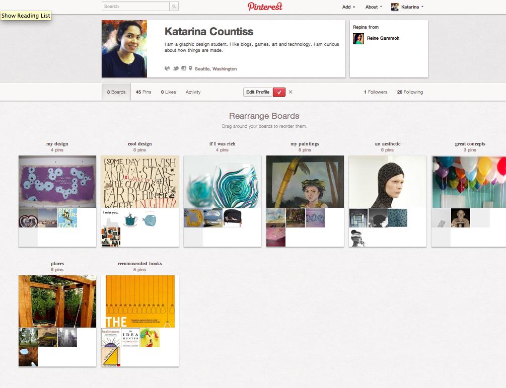 Screen shot of pinterest profile for Katarina Countiss