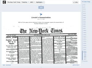 Screen shot of the New York Times' Facebook Timeline: It goes back to 1857!