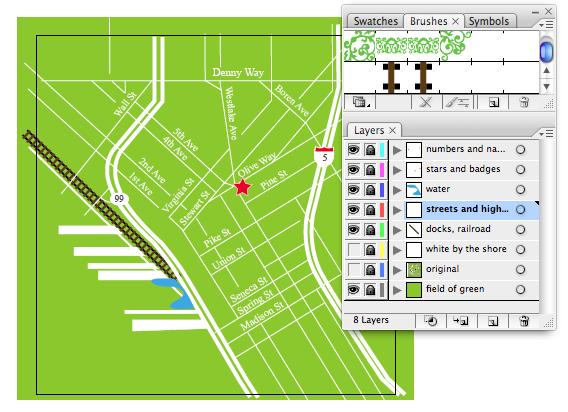 map of downtown seattle adobe illustrator screenshot
