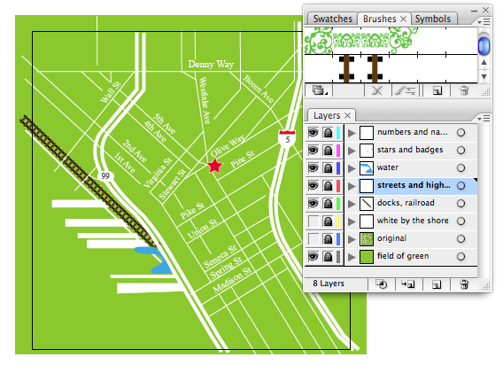 map of downtown seattle adobe illustrator screenshot