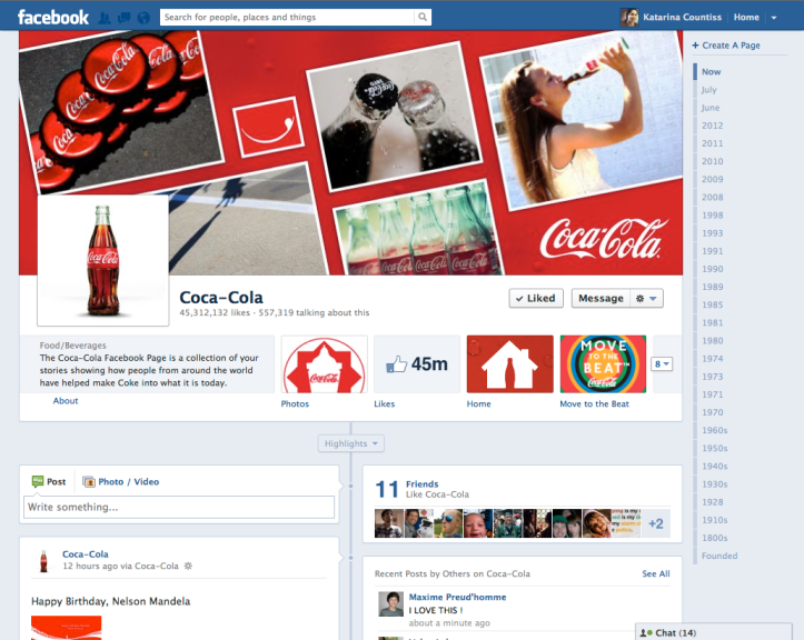 screen shot of coca cola facebook page