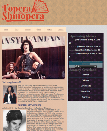 Screen shot of lopera shmopera site