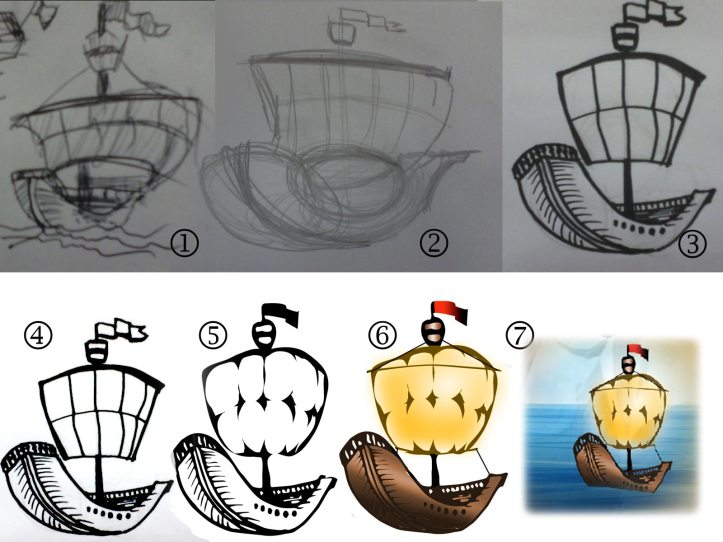 the process of illustrating a boat