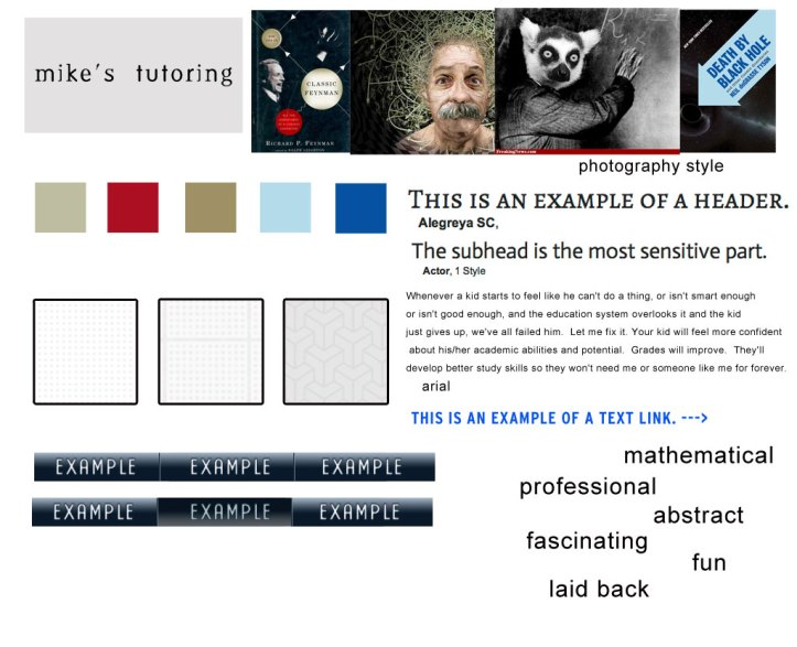 mike's tutoring style tile web design adjectives textures photographic styles