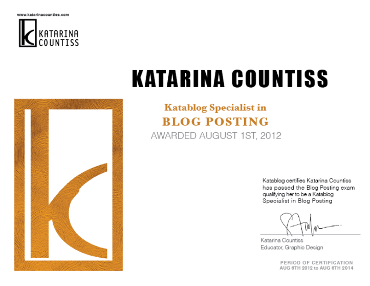 Certificate gold seal Katarina Countiss