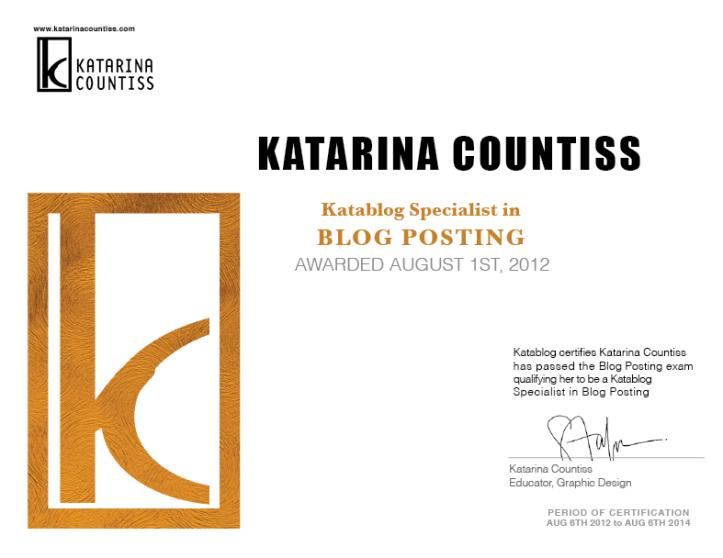 Certificate gold seal Katarina Countiss