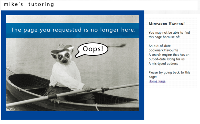 the 404 error page of mikes tutoring site lemur