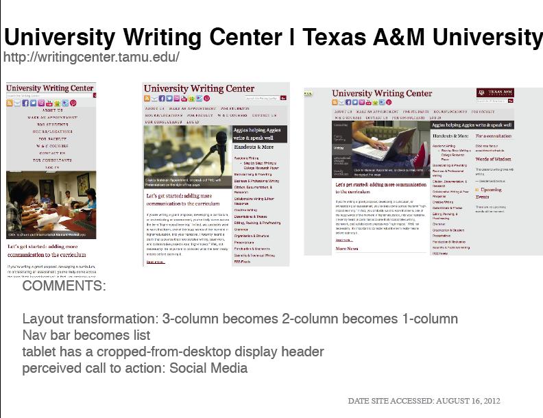 Screen shots responsive web design research summer 2012 education