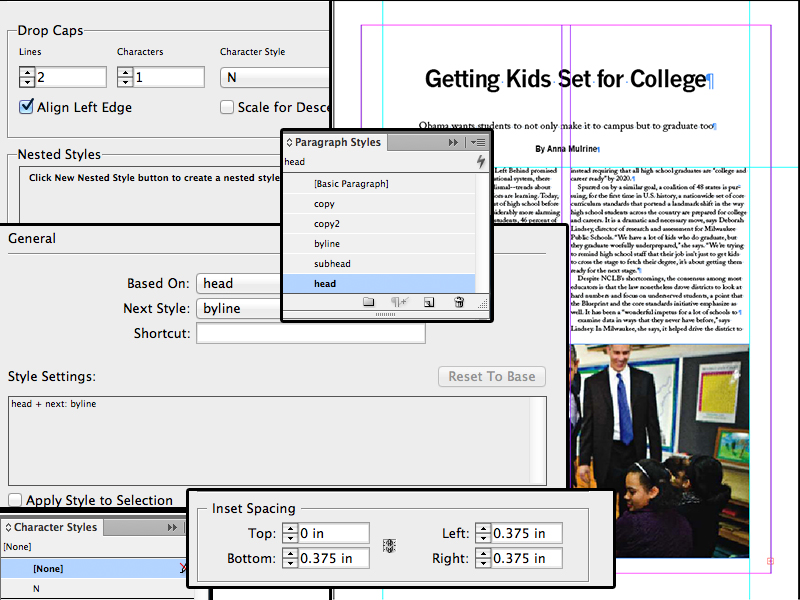 INDESIGN collage featuring CS features