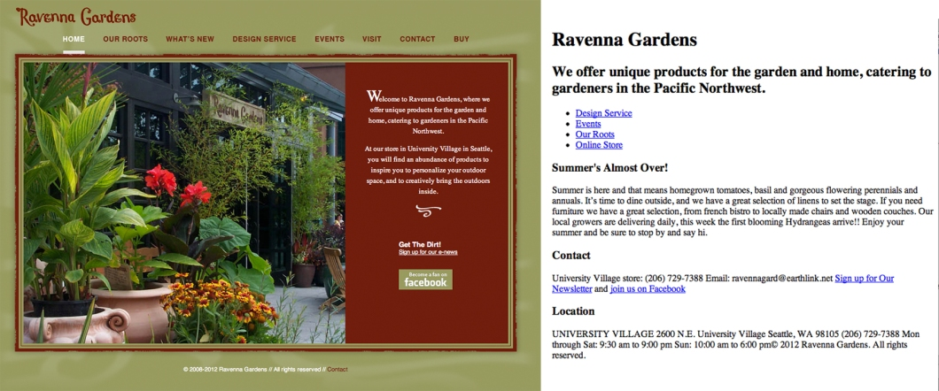 screen shot of old web site and modified html
