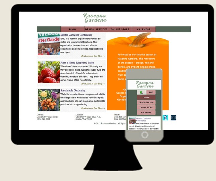 Ravenna Gardens responsive website desktop and mobile