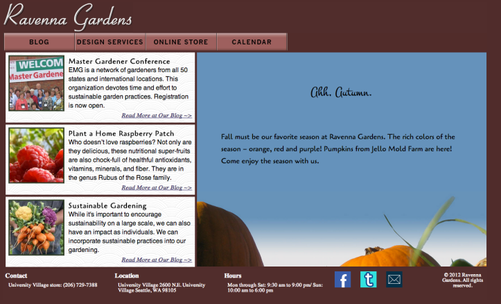 Ravenna Gardens website screenshot desktop
