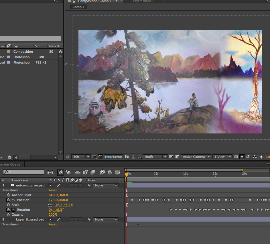 workspace shot of unicron After Effects