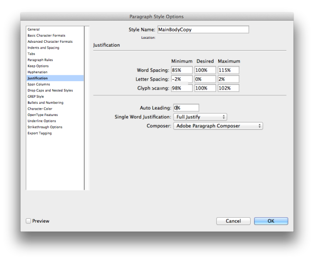 screen grab indesign justification rules