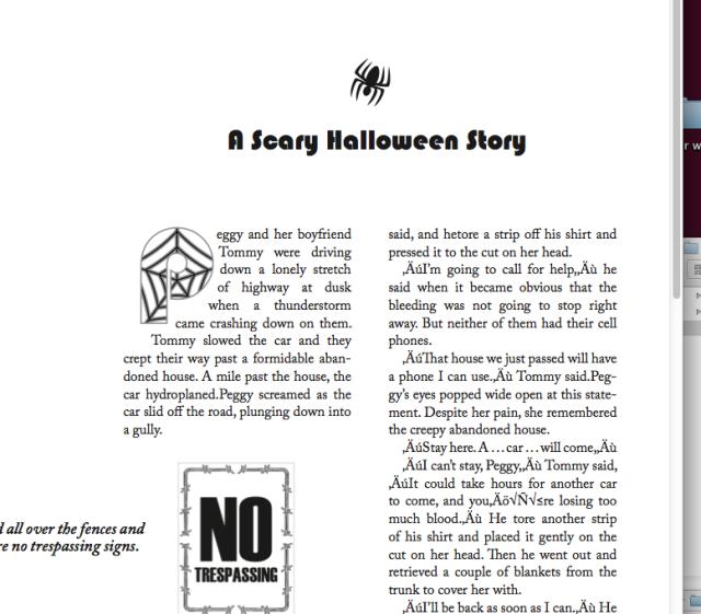 indesign class halloween story