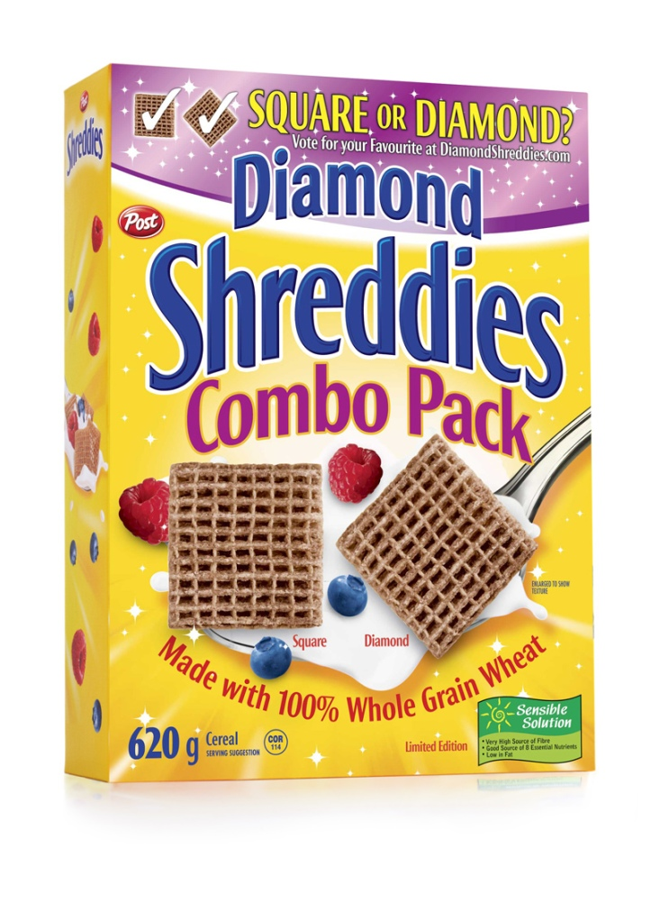 picture of cereal box featuring shreddies combo pack square or diamond