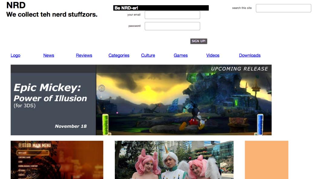 screenshot of website after restyling