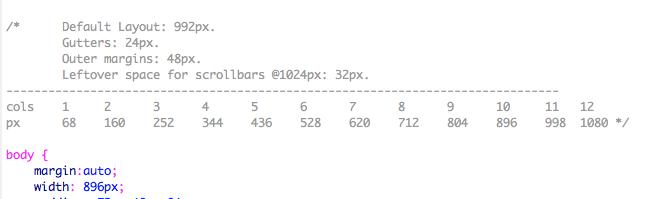 less framework column guide