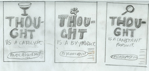 thumbnails for class ad trio. copy reads:  thought is a by-product