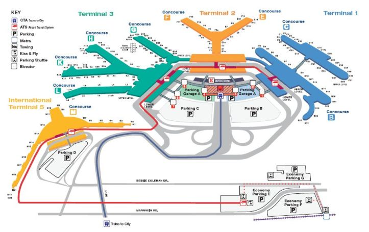 O'hare Terminal Map. It's easy to indicate location of a room. It's another thing to indicate its entrance.
