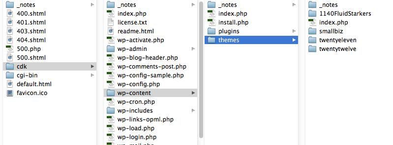 screenshot of wordpress files