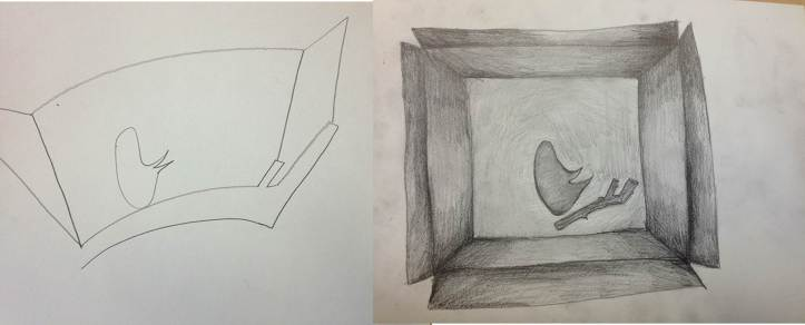 My drawing of a box containing a stick and stone