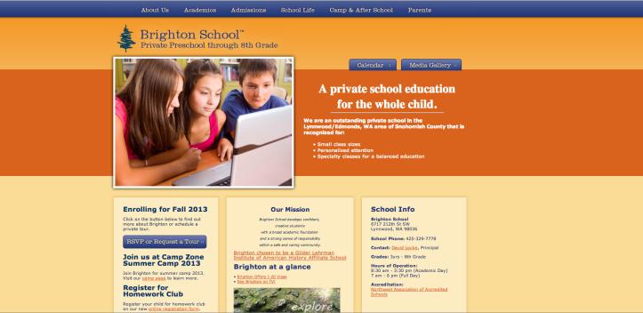 Current solution for Brighton School's Website