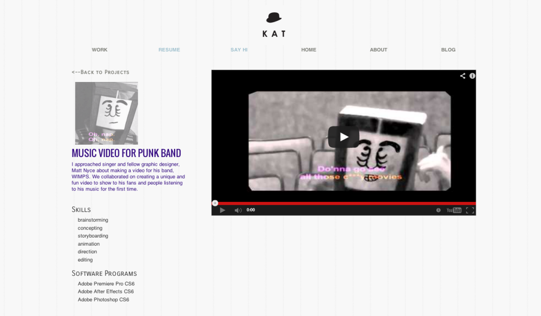 layout for videos on portfolio site