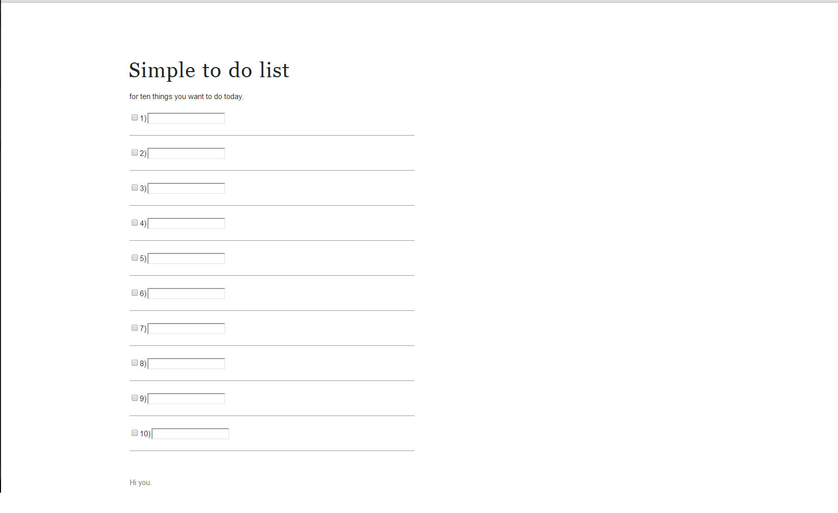 simple to do list website