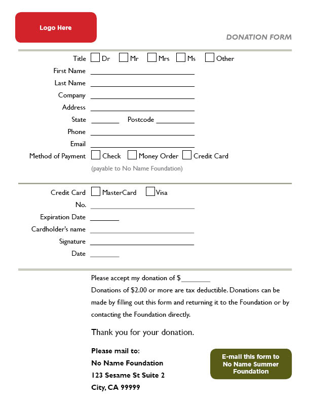 donation forms templates