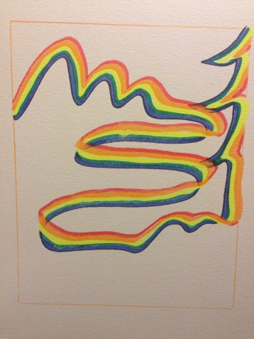 """""""Rainbow Ribbon Creating Mountains, River and Tree"""""""